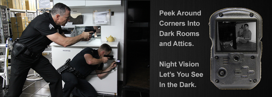 Police using body camera to peek into a dark room.