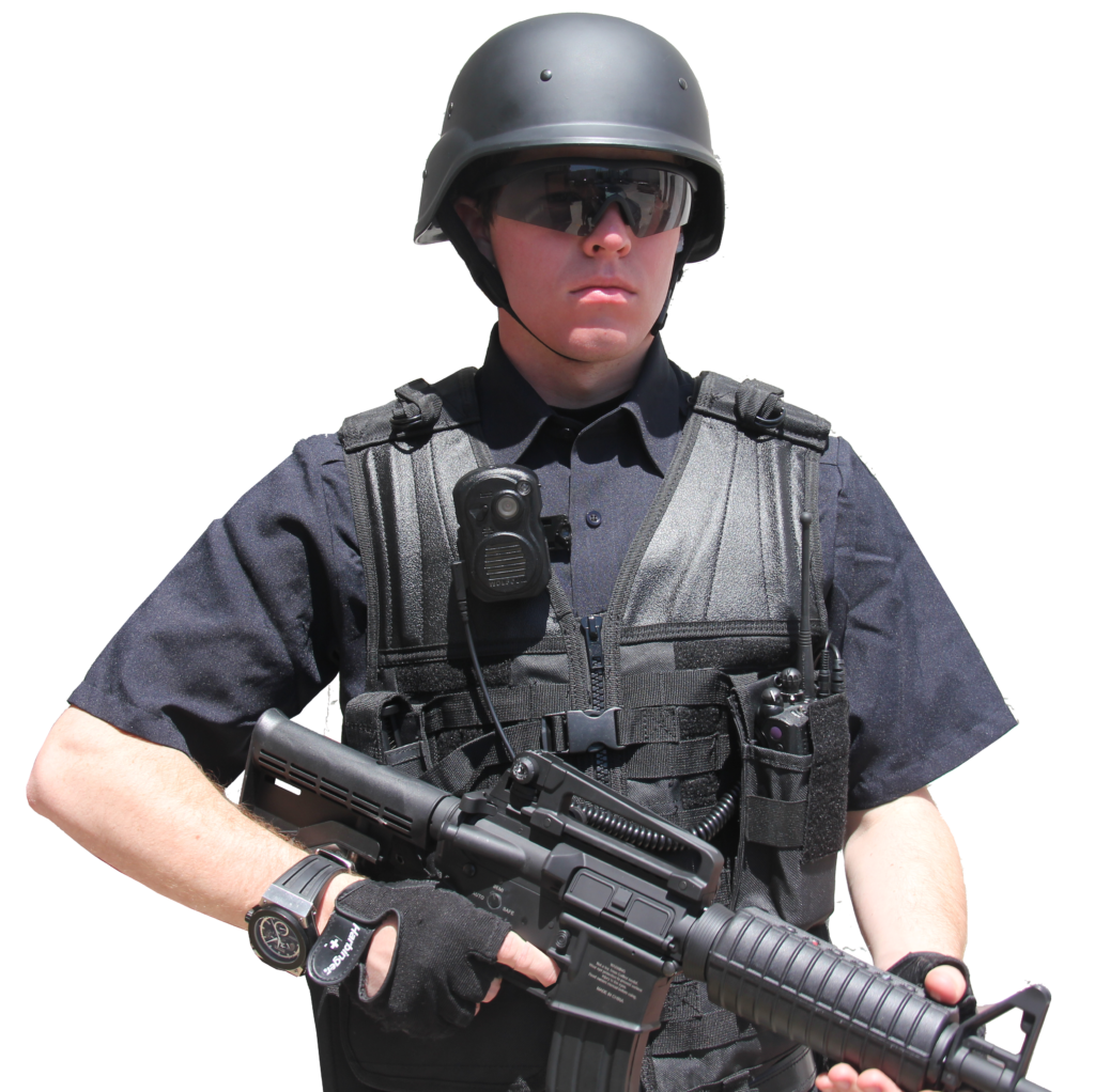 Swat officer with body camera.