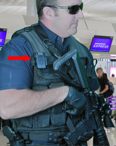 airport officer wears body camera