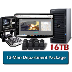 wolfcom 12-man package includes body cameras, docking ports, workstation with storage, mdt client mobile software and evidence management software licenses