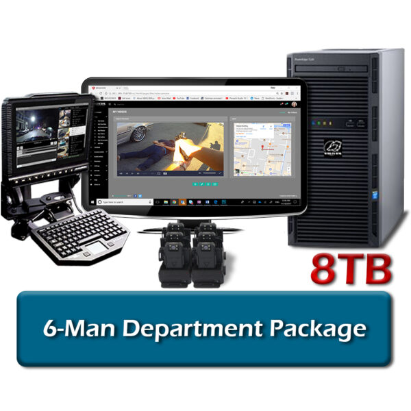 wolfcom 6-man package includes body cameras, docking ports, workstation with storage, mdt client mobile software and evidence management software licenses