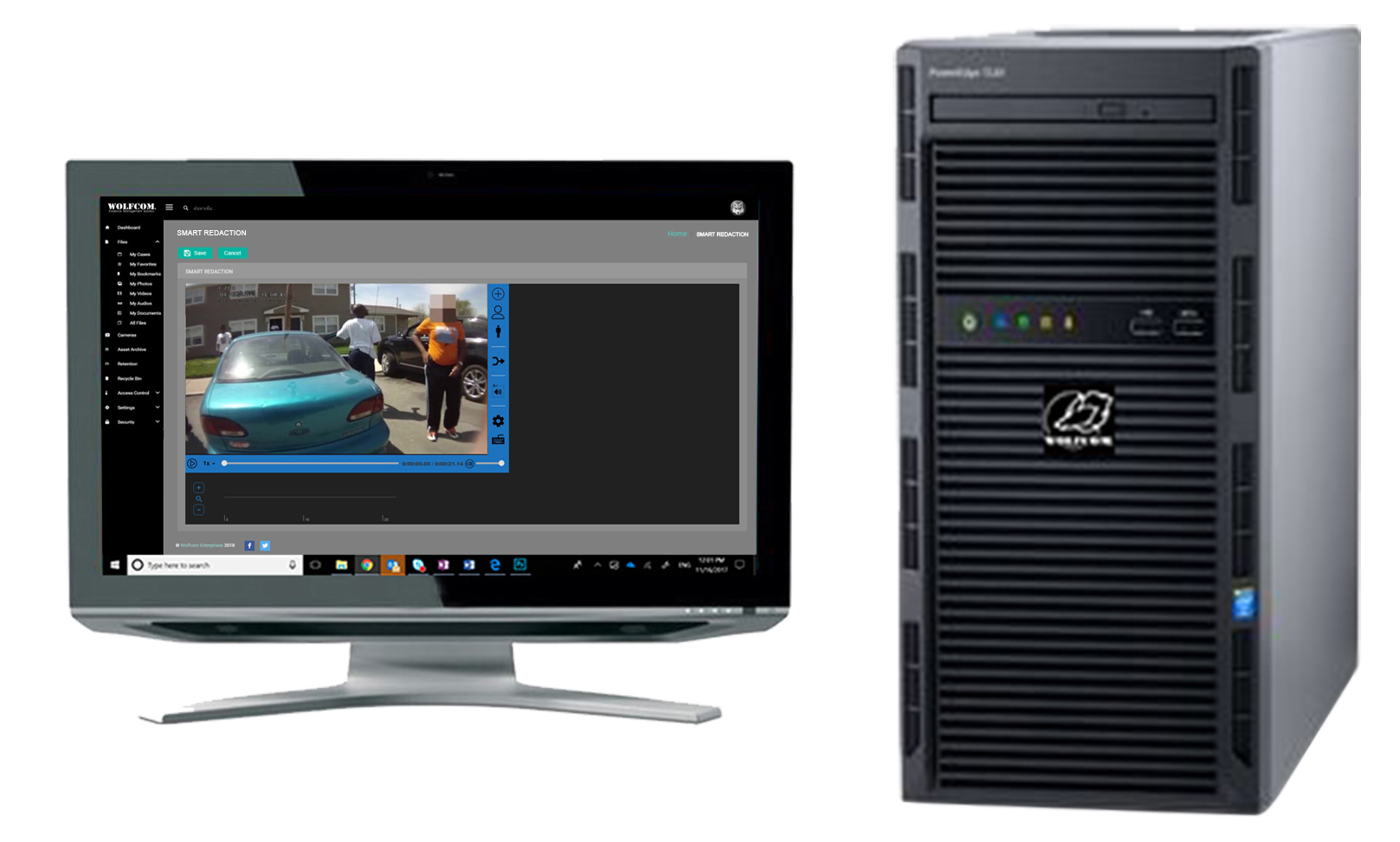 standalone on-premises station used to redact videos