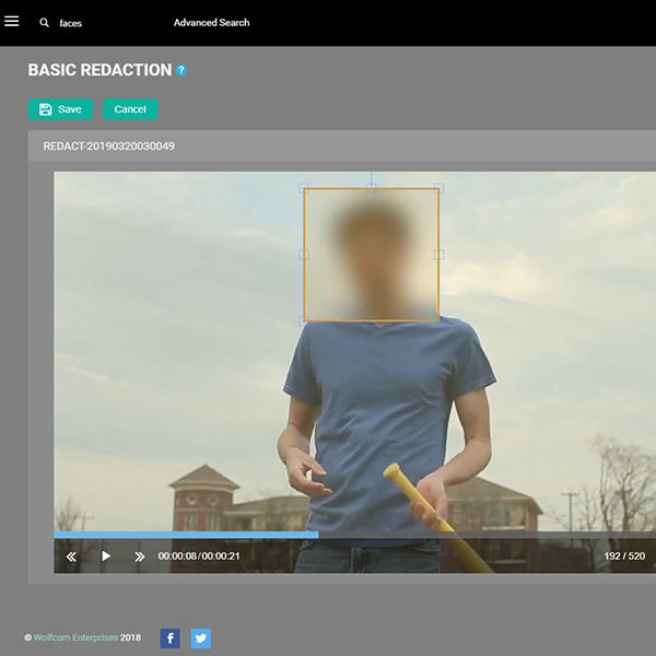wolfcom offers manual video redaction built-in the wolfcom evidence management software