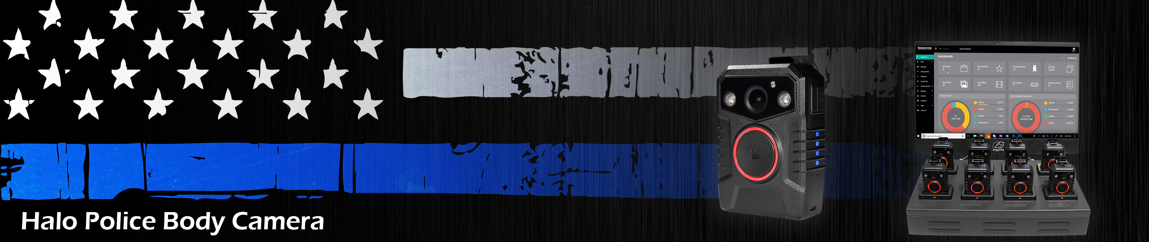 top banner for halo police body camera page on wolfcom usa website