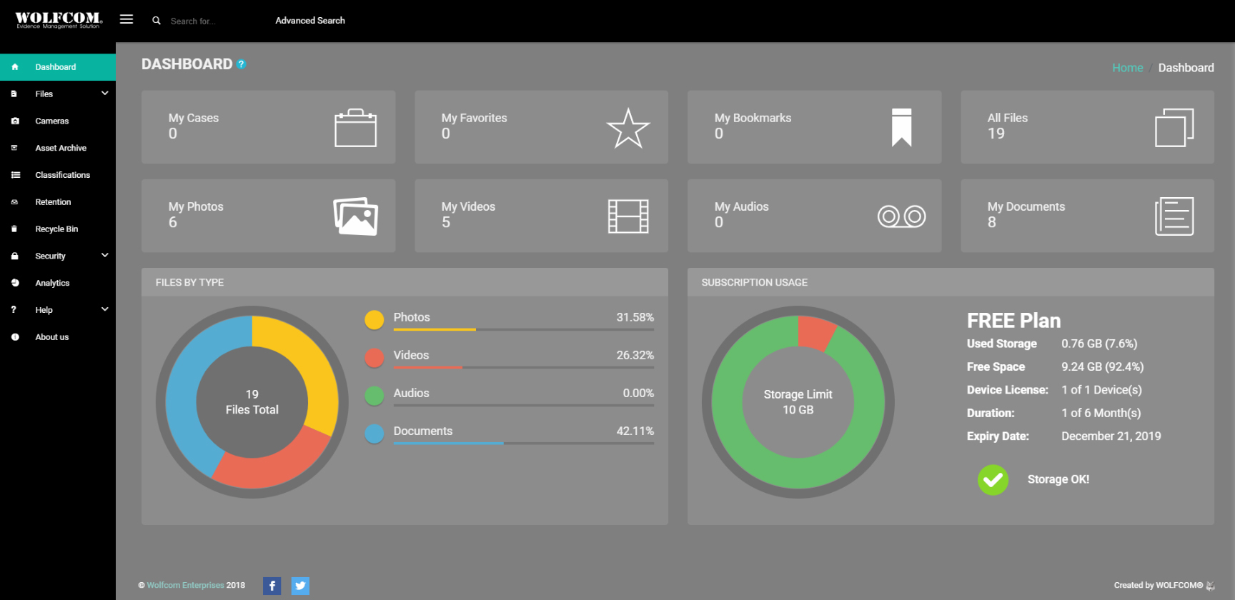 wolfcom cloud evidence management system dashboard
