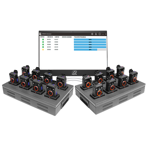 x2 smart upload station is capable of charging and extracting data from up to 8 wolfcom halo body cameras at once