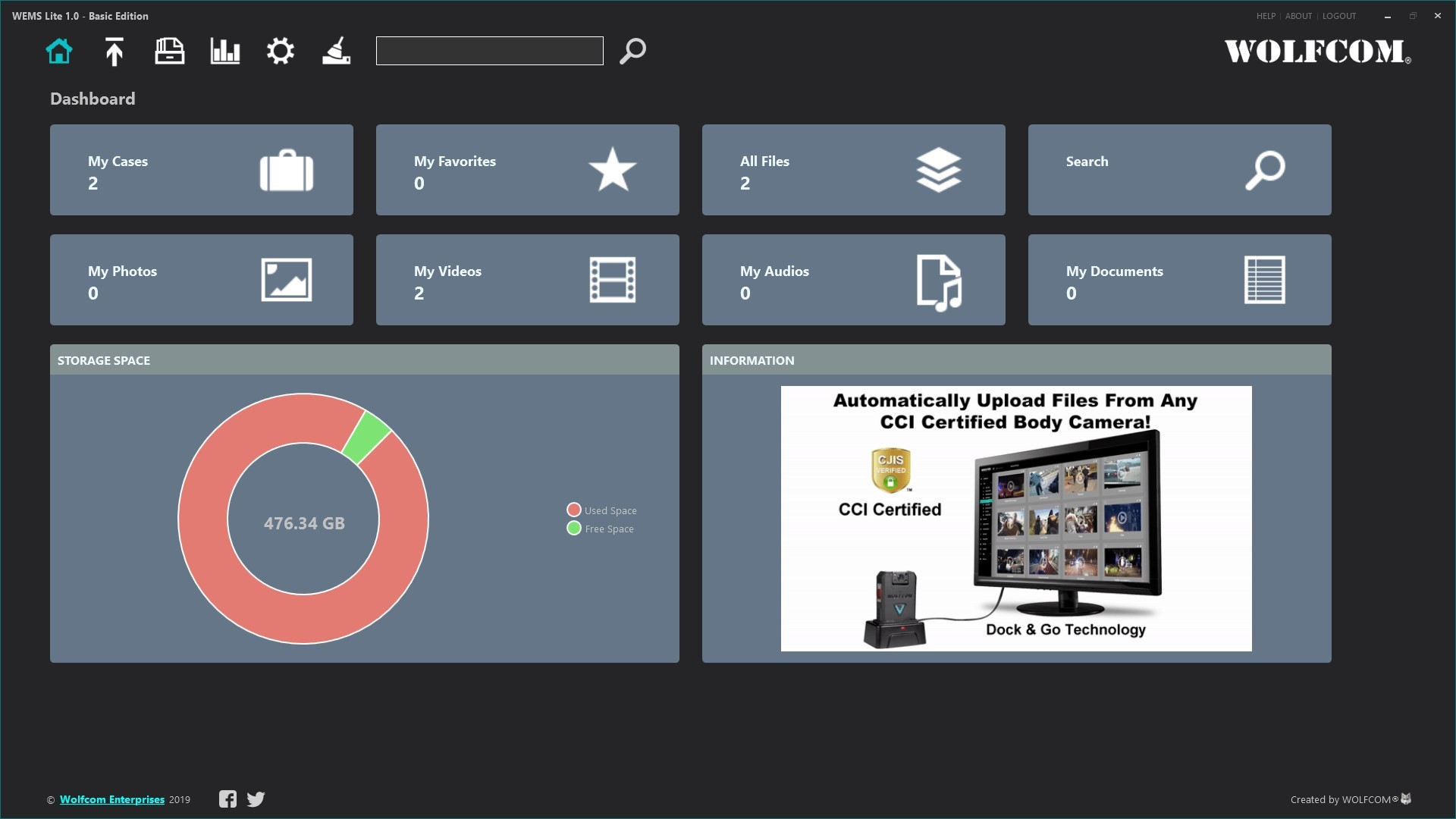 Free download of WEMS Lite WOLFCOM Evidence management Software.